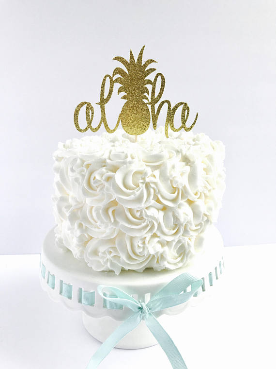 Aloha Cake Topper Tropical Party Toppers Pineapple