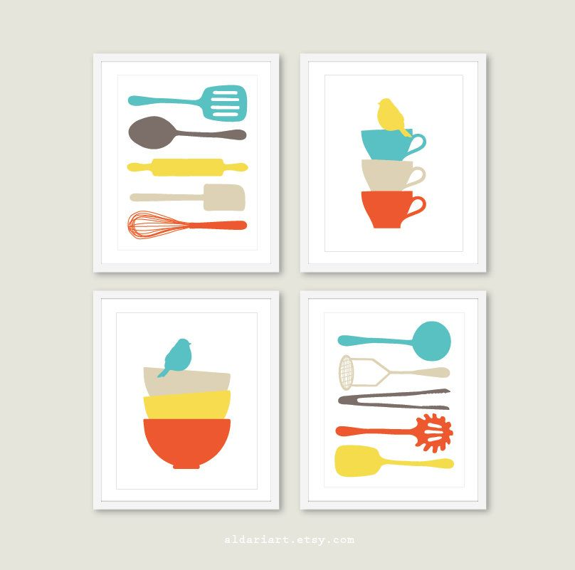Kitchen Wall Art Cooking Utensils Prints Soup Bowls Print Teacup Print Bird Decor Kitchen Wall Decor Set Of 4 Choose Your Colors With Images Kitchen Wall Art Bird Prints Bird Decor