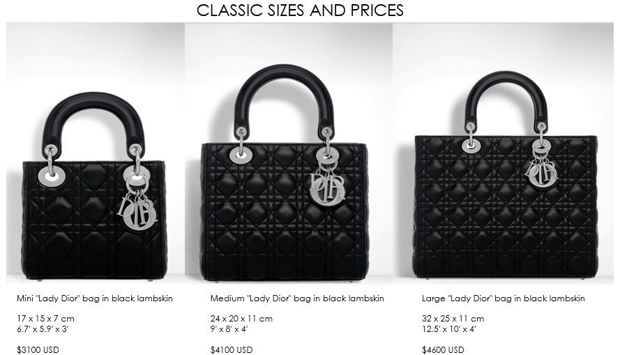 Lady Dior Sizes Mini Small Large  ac13e473c748d