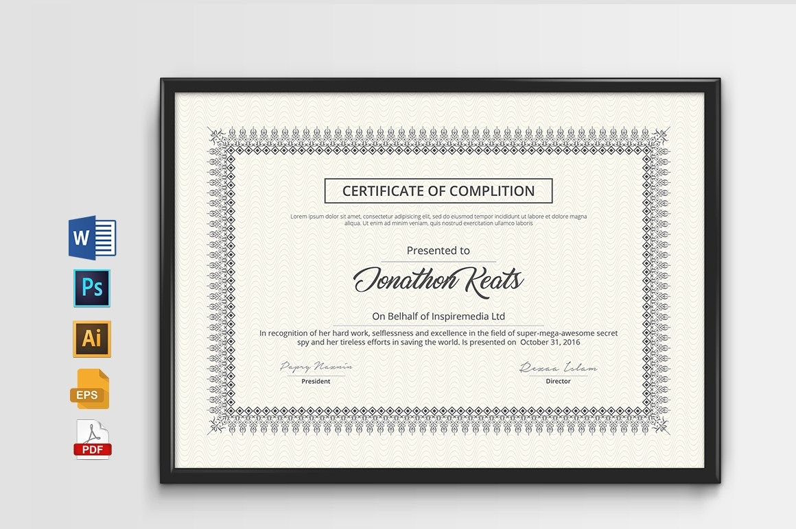 Certificate With MS Word | Certificate Design | Pinterest