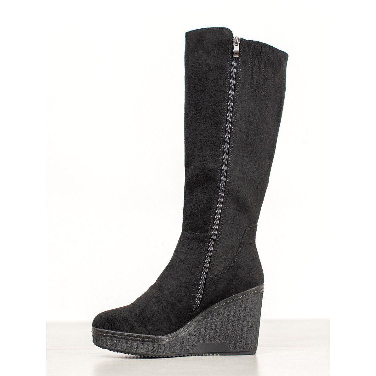 Filippo Czarne Kozaki Na Koturnie Black Wedge Boots Wedge Boots Boots