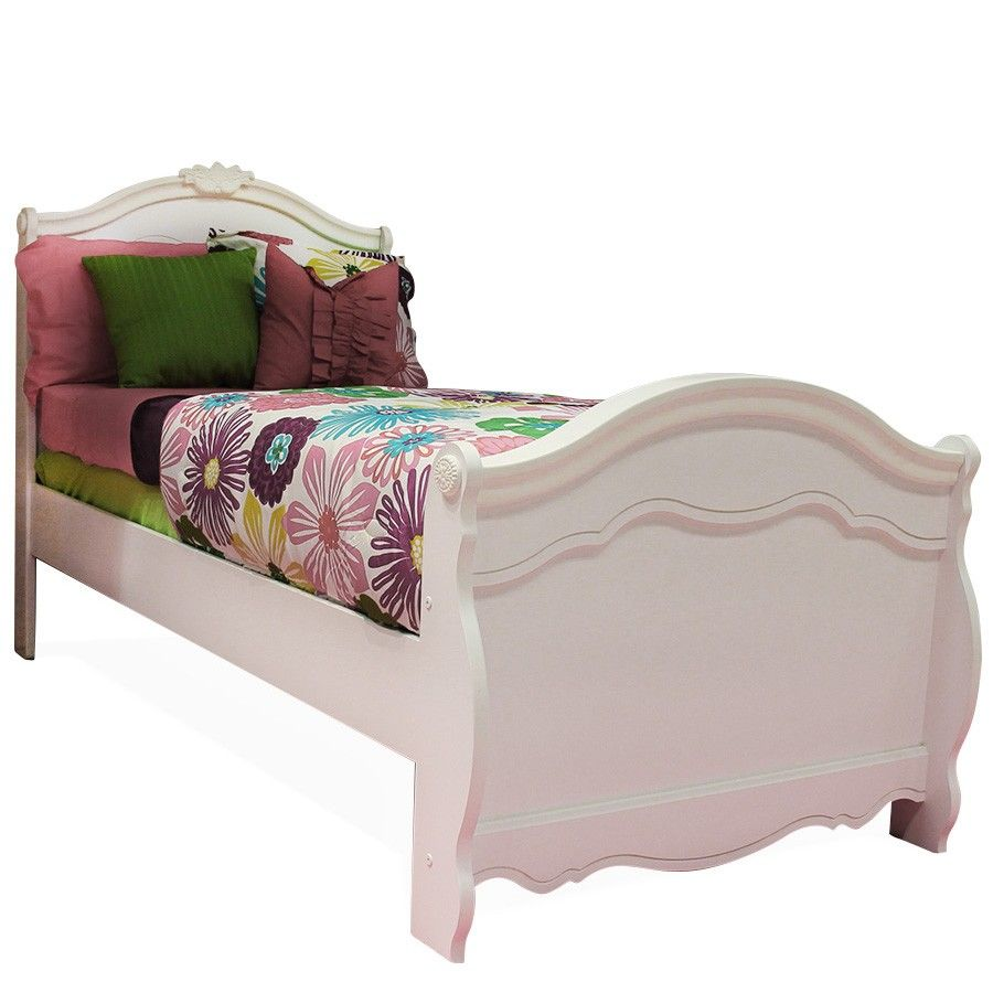 Best Ashley Exquisite Luminous White Twin Size Sleigh Bed 640 x 480
