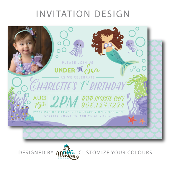 Under The Sea Little Mermaid Party Little Monkey Designs Sea Birthday Party First Birthday Theme Girl Birthday Invitations