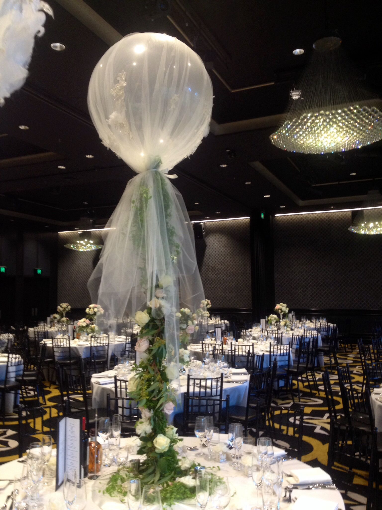 Large Balloon Centerpiece : Ft balloon wrapped in custom tulle set off base with ivy