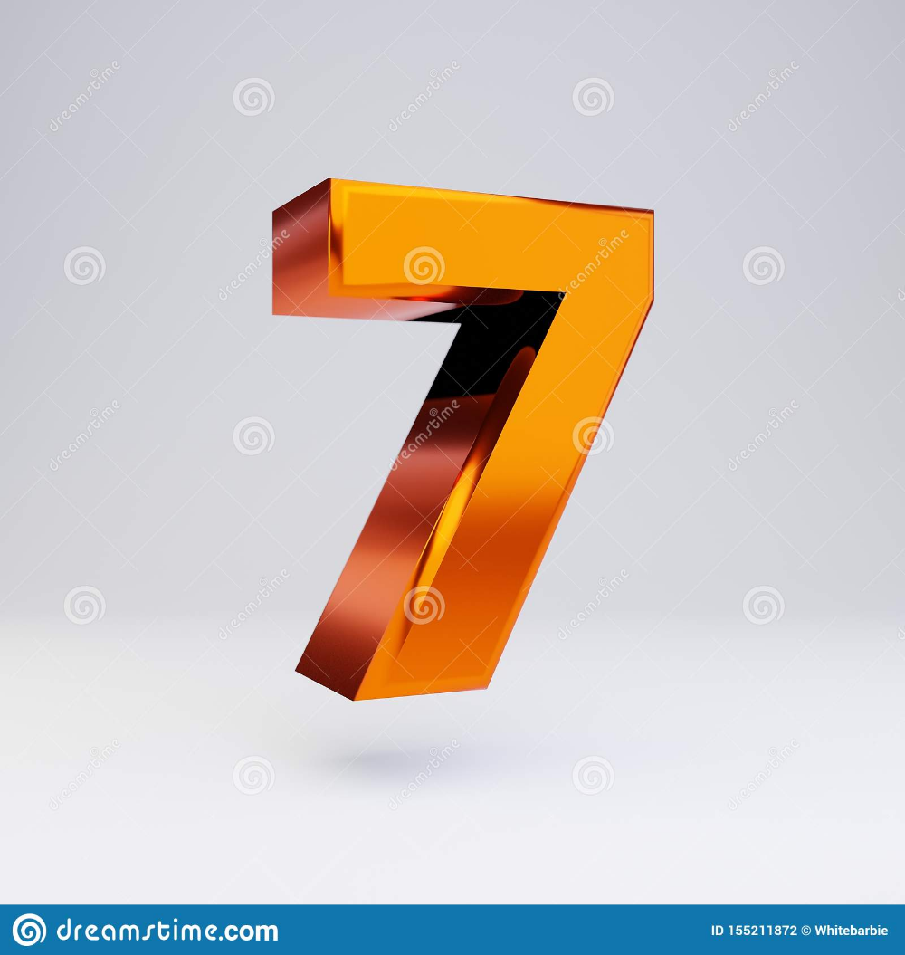 3d Number 7 Hot Orange Metallic Font With Glossy Reflections And Shadow Isolated On White Background Stock Illustra Glossy White Background Stock Illustration