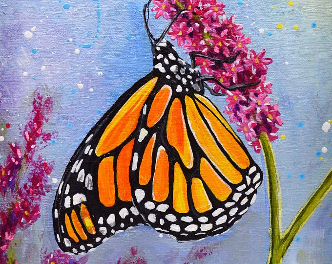 Spring Landscape Acrylic Painting - 9 | Butterfly art ...
