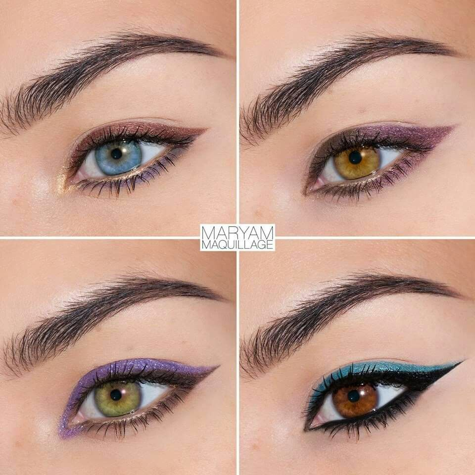 Four colors makeup grade pinterest make up repost from q whos not afraid of color here are some simple colorful liner looks for different eye colors using le stylo nvjuhfo Image collections