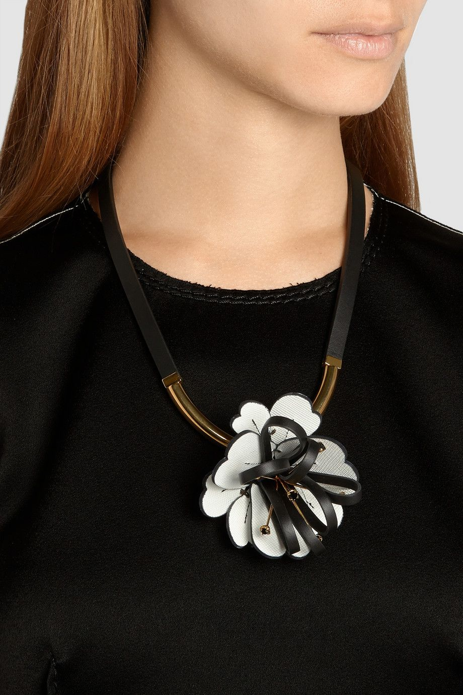 Gold Tone Collar Necklace With Crystal And Leather Flower Detail Marni 2018 For Sale uQL4l
