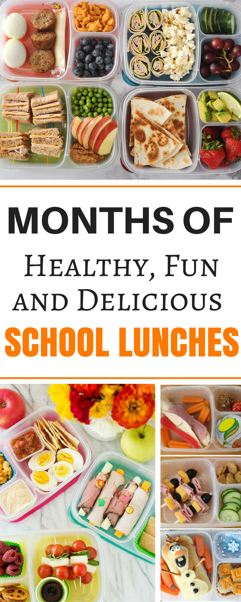 months worth of healthy make ahead school lunch ideas for kids, for