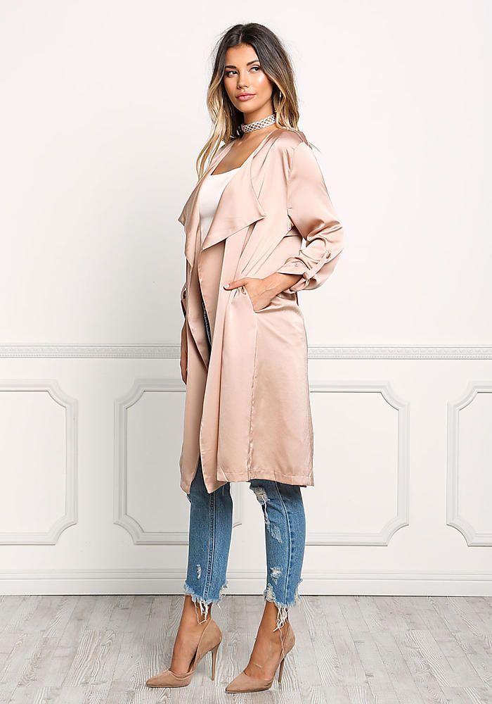 972c8f6928  47 Blush Satin Layered Light Duster Coat