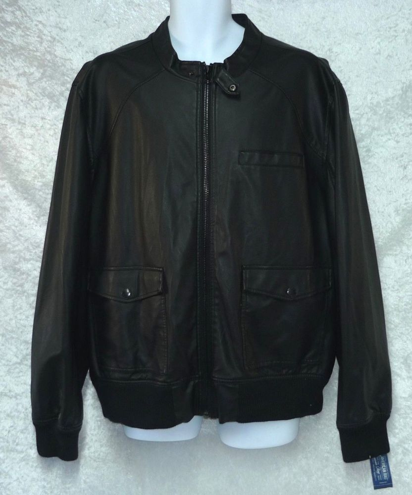 1c13dfd68da American Rag Mens Faux Leather Bomber Jacket Black size XXL NEW https   www