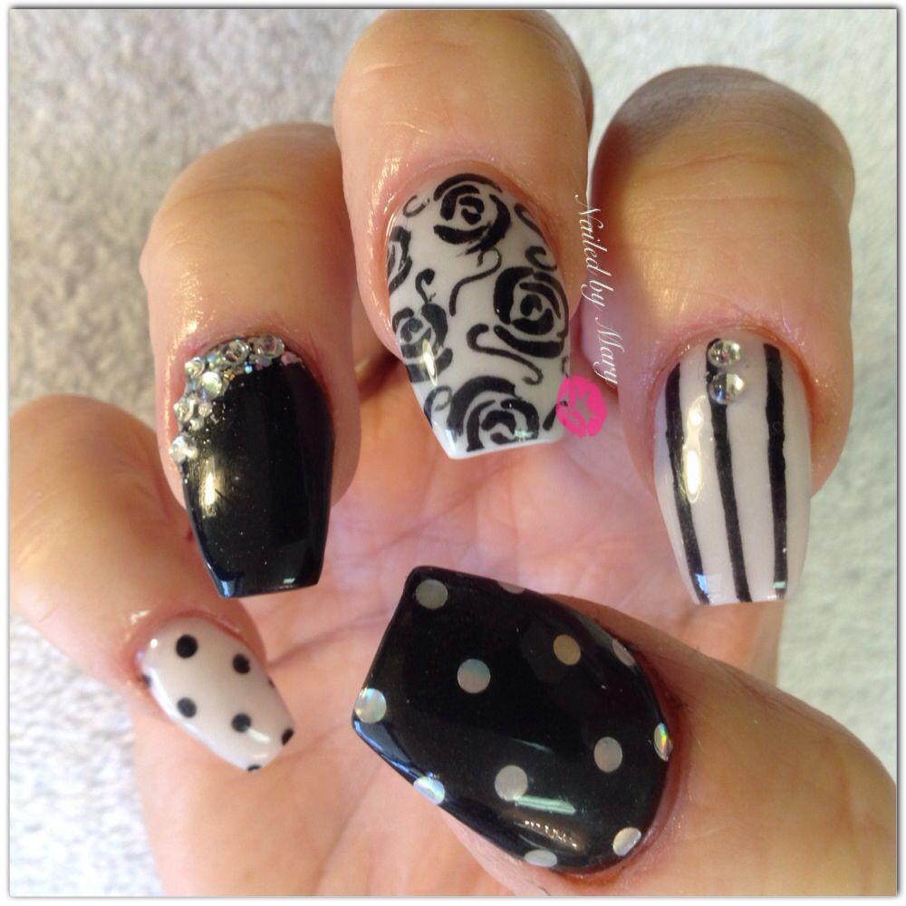Black n white polka dots New Years coffin ballerina nails | Nailed ...
