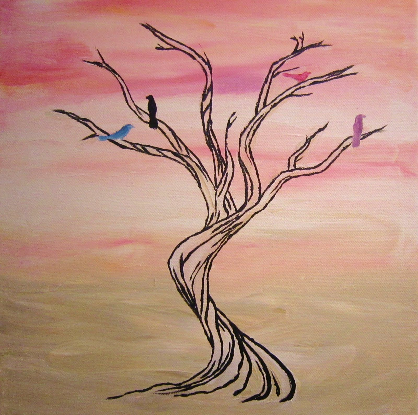 easy tree paintings on canvas tree art pink and white