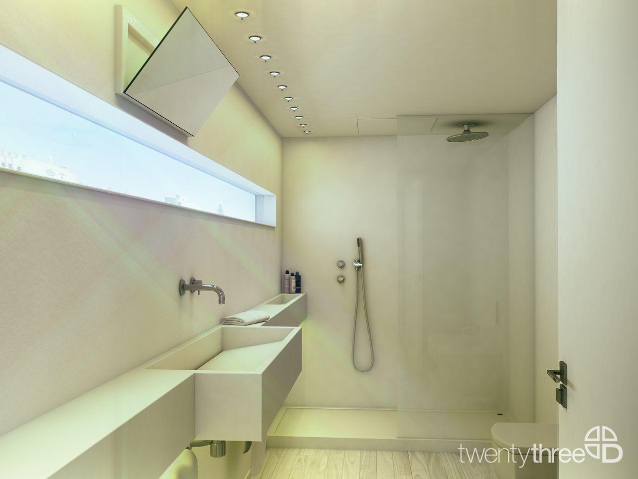 Architectural Visualization by TwentyThreeD Creative Studio. Apartamento en Mahon (Spain) MODO Architecture. Vista baño.