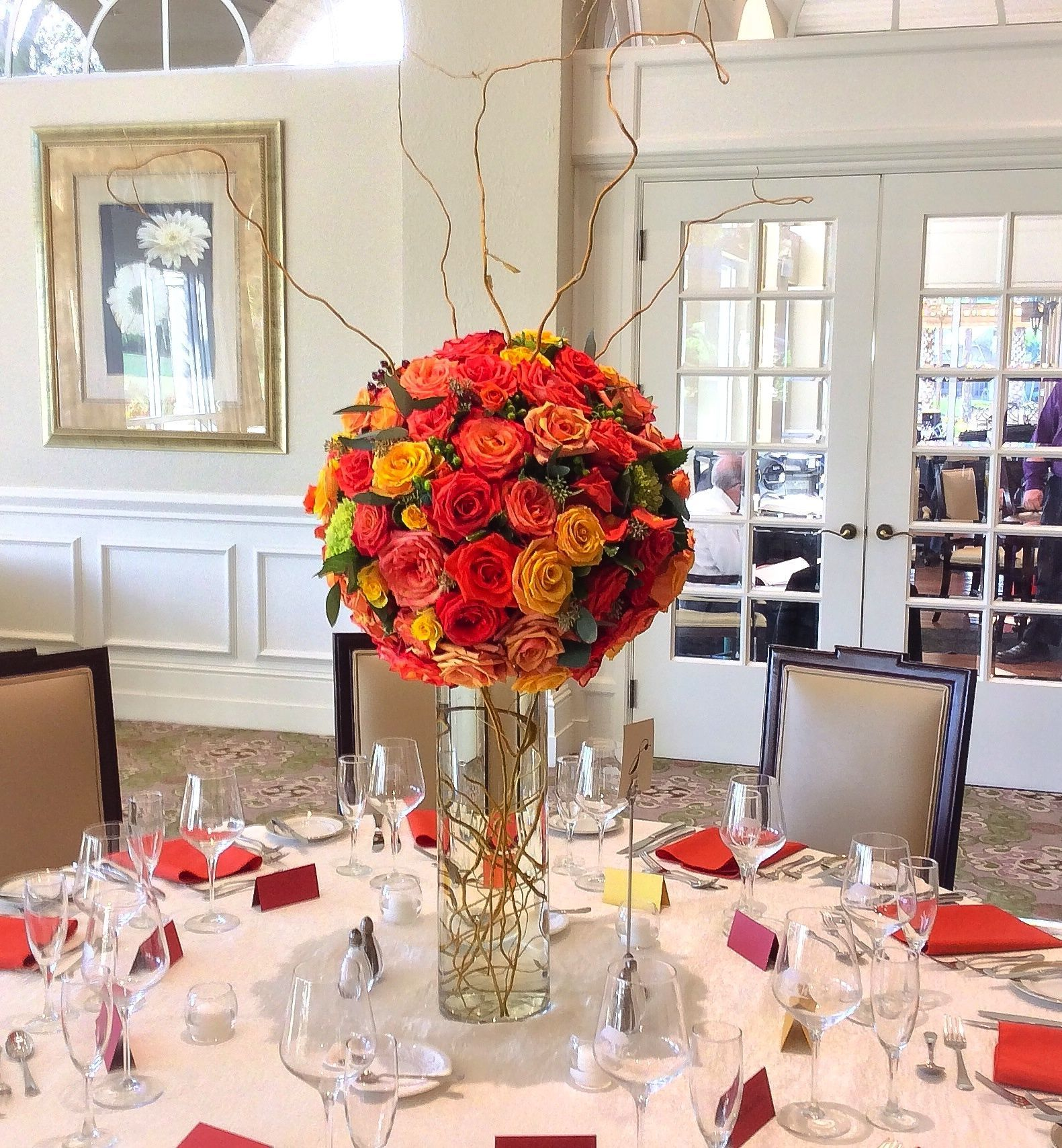 Wedding Table Floral Centerpieces- Fall Wedding Table Decor Designed By