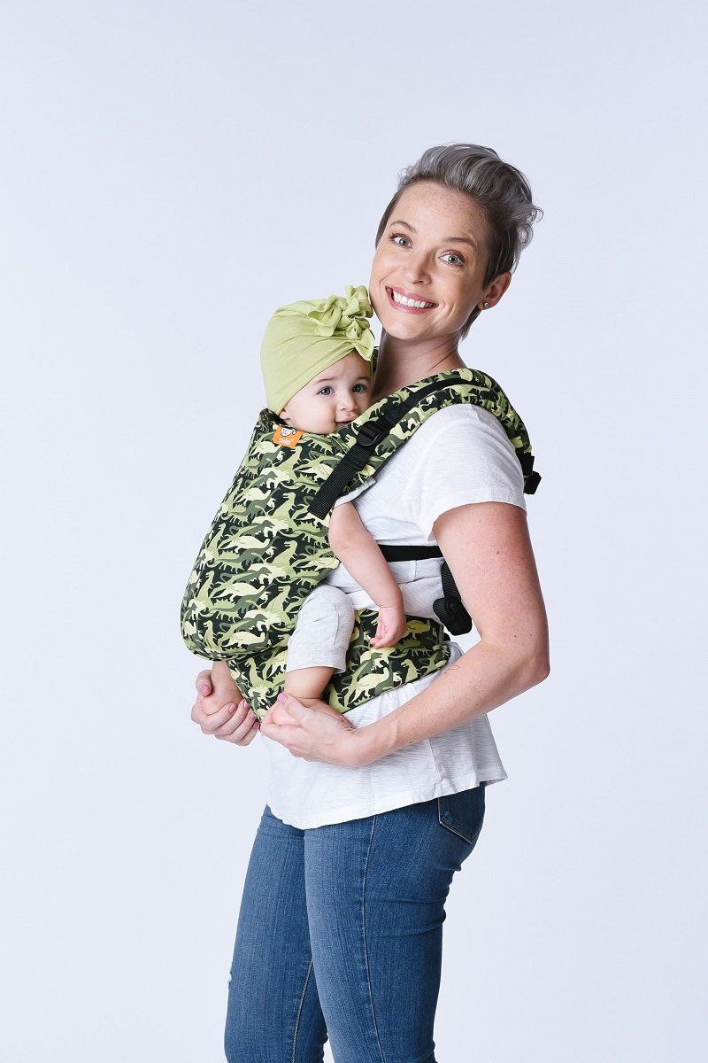 Baby Tula S Free To Grow Camosaur Baby Carrier Has A Panel That Adjusts To Provide An Ergonomic Seat For Baby As Tula Baby Carrier Baby Carrier Tula Carrier