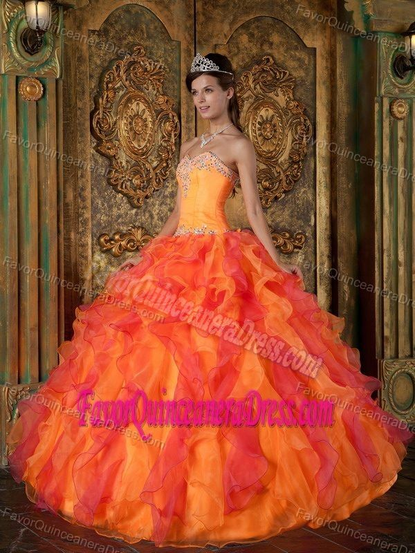 ff5c95235e Orange and Hot Pink Sweetheart Beaded Quinceanera Dresses with Ruffles