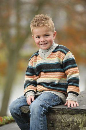 1001: Modell 24 Stripet genser med v hals #strikk #knit
