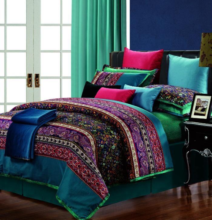 Egyptian Cotton Stripe Purple Green Comforter Bedding Set King Size Queen Silk Satin Praisley Duvet Cover King Bedding Sets Paisley Bedding Paisley Bedding Set