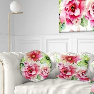 Designart 'Roses and Gerber Flowers Watercolor' Floral Throw Pillow (Rectangle - 12 in. x 20 in. - Medium), Multicolor, DESIGN ART(Polyester)
