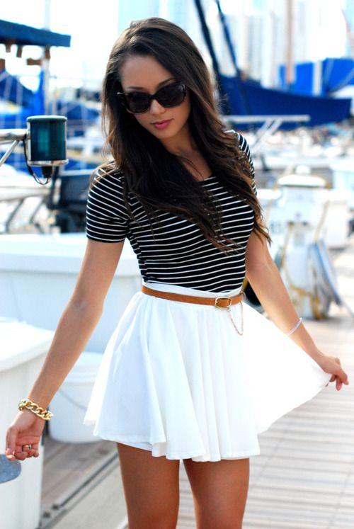 957160c7e5415 une jupe et une marinière, la classe   Sexy girls   Mode, Fashion ...