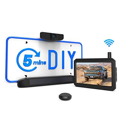 Solar Wireless Backup Camera Kit 5 Mins DIY Installation 5inch Monitor and HD Image Rea