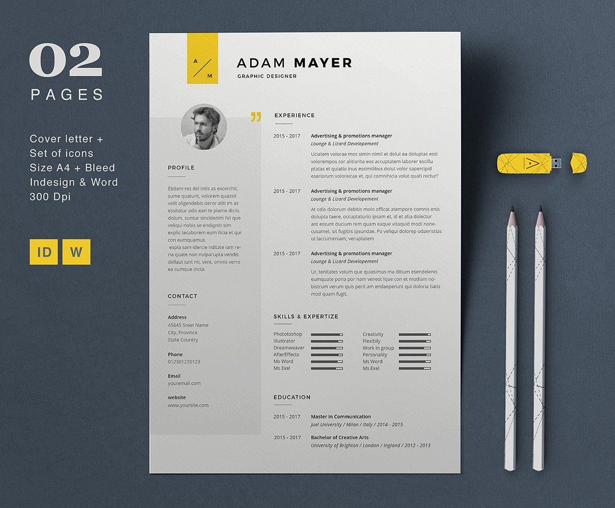 Modern sidebar resume with cover letter template. Editable in Word ...