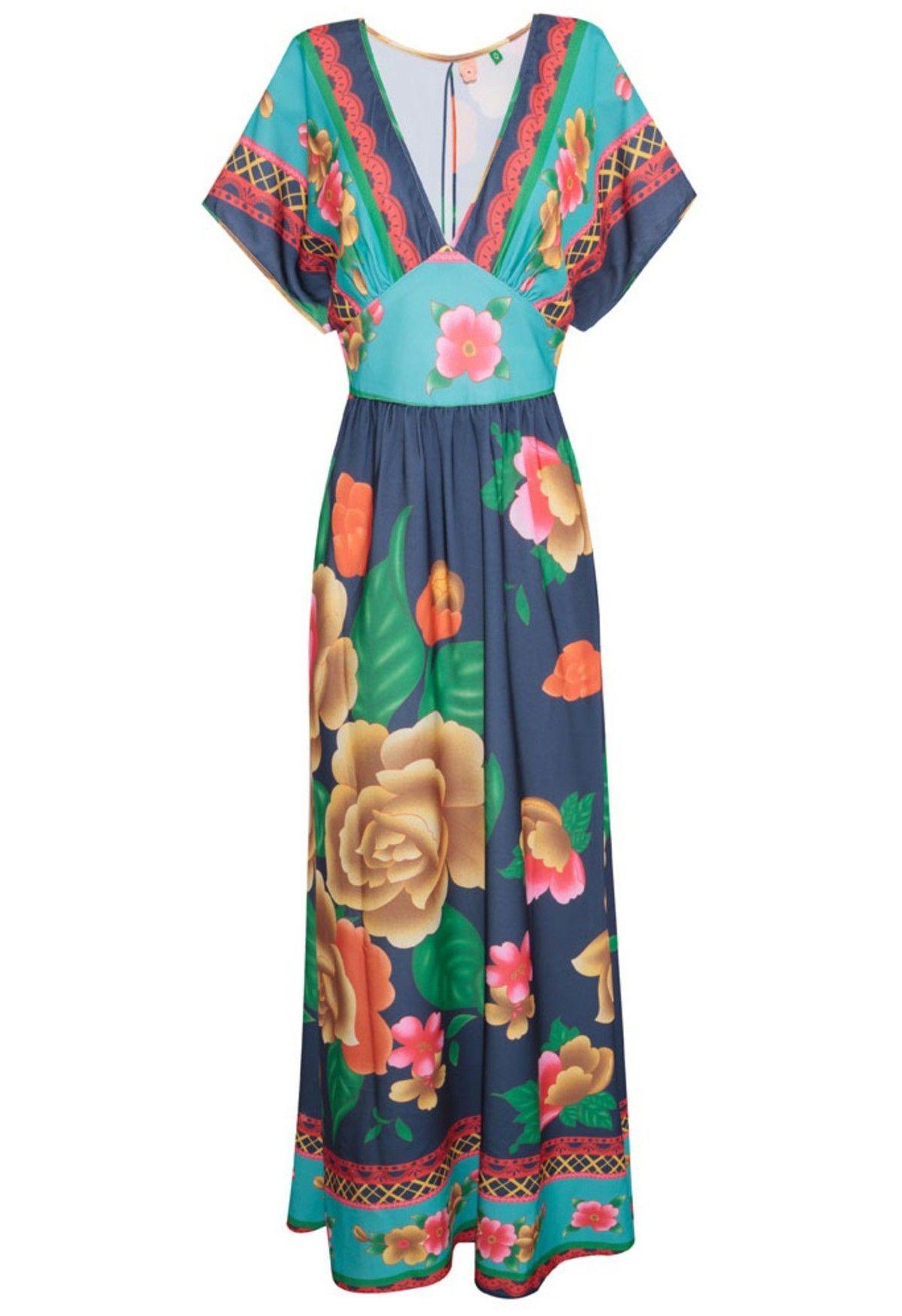 d145a5947 Vestido longo floral - azul e verde na  oqvestir