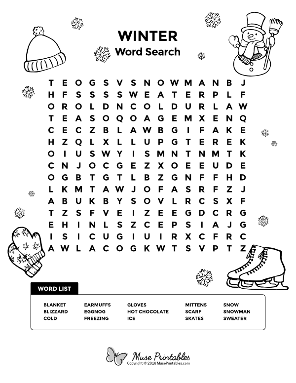 Free printable winter word search. Download it at https ...