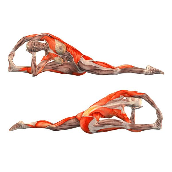 Monkey king pose with rotation and bend to right leg - Hanumanasana advanced right - Yoga Poses | YOGA.com