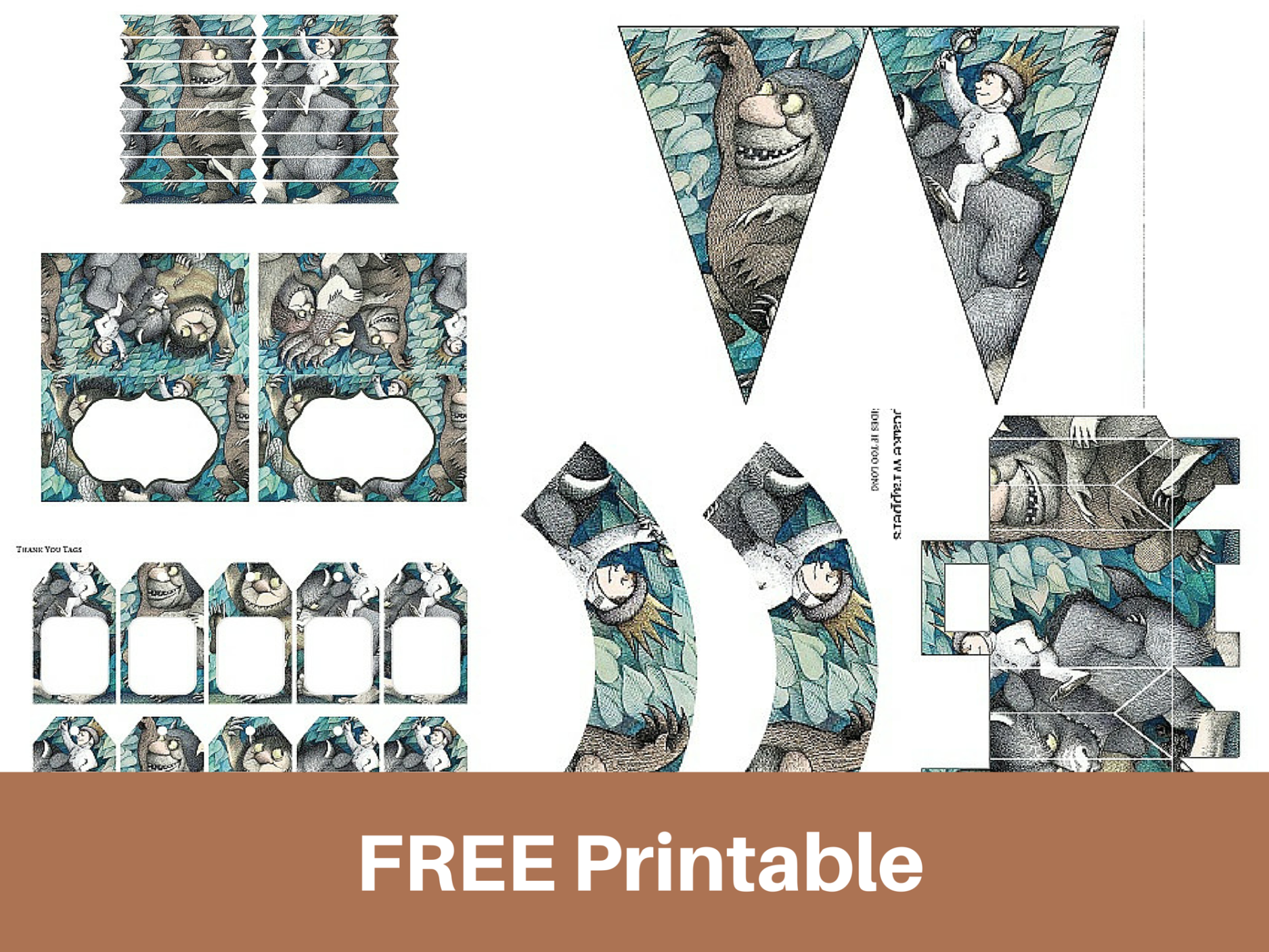 "FREE Printable ""Where the Wild Things Are"" Baby Shower Birthday"