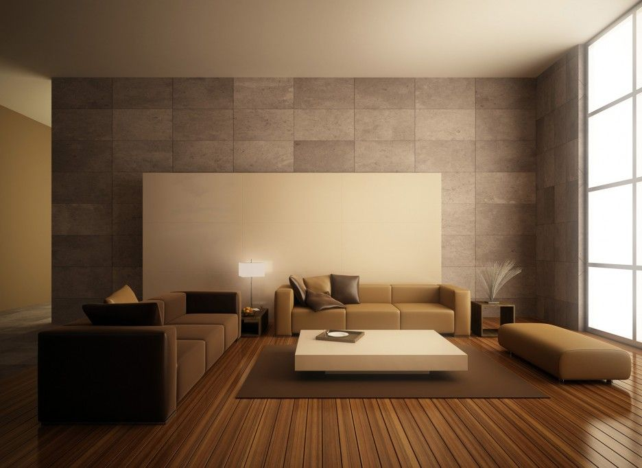 Minimalist Modern Brown Living Room Design Ideas With Large Sized