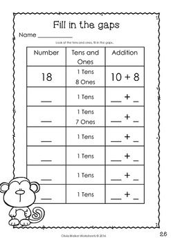 place value teen numbers 10 to 19 worksheets printables elementary number recognition. Black Bedroom Furniture Sets. Home Design Ideas