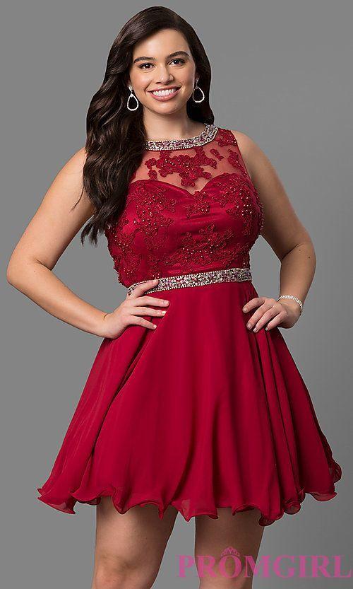 Lace-Bodice Plus-Size Short Prom Dress | homecoming dresses ...