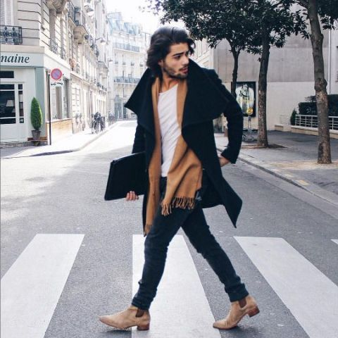 With white shirt, black coat, brown scarf and jeans - Styleoholic ...