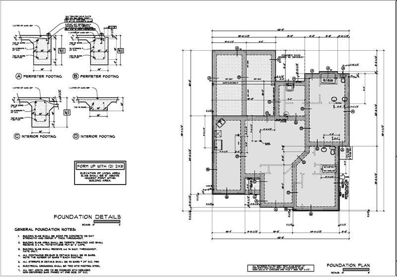 Foundation plan sample construction drawing projects for Foundation plan drawing