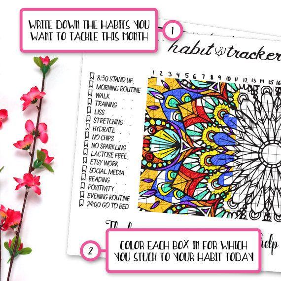 Printable Habit Tracker Coloring Page Mandala Coloring Page Etsy Coloring Pages Bullet Journal Bullet Journal Printables