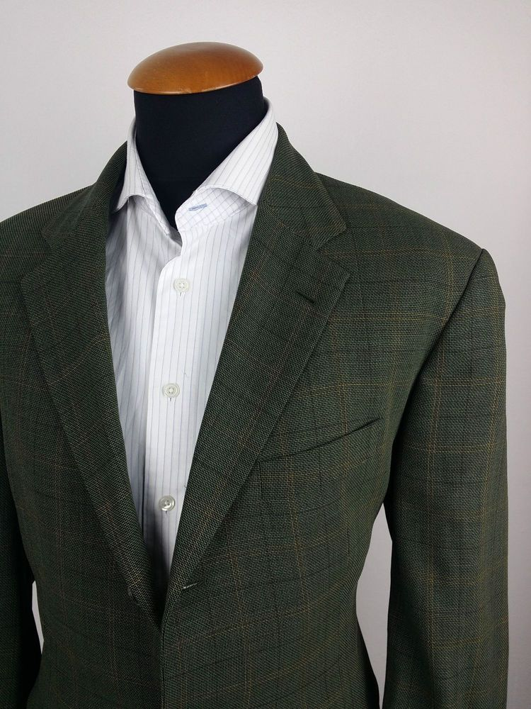 Men's Hugo Boss Blazer 44R Woven Wool Sport Coat Green Check Plaid ...