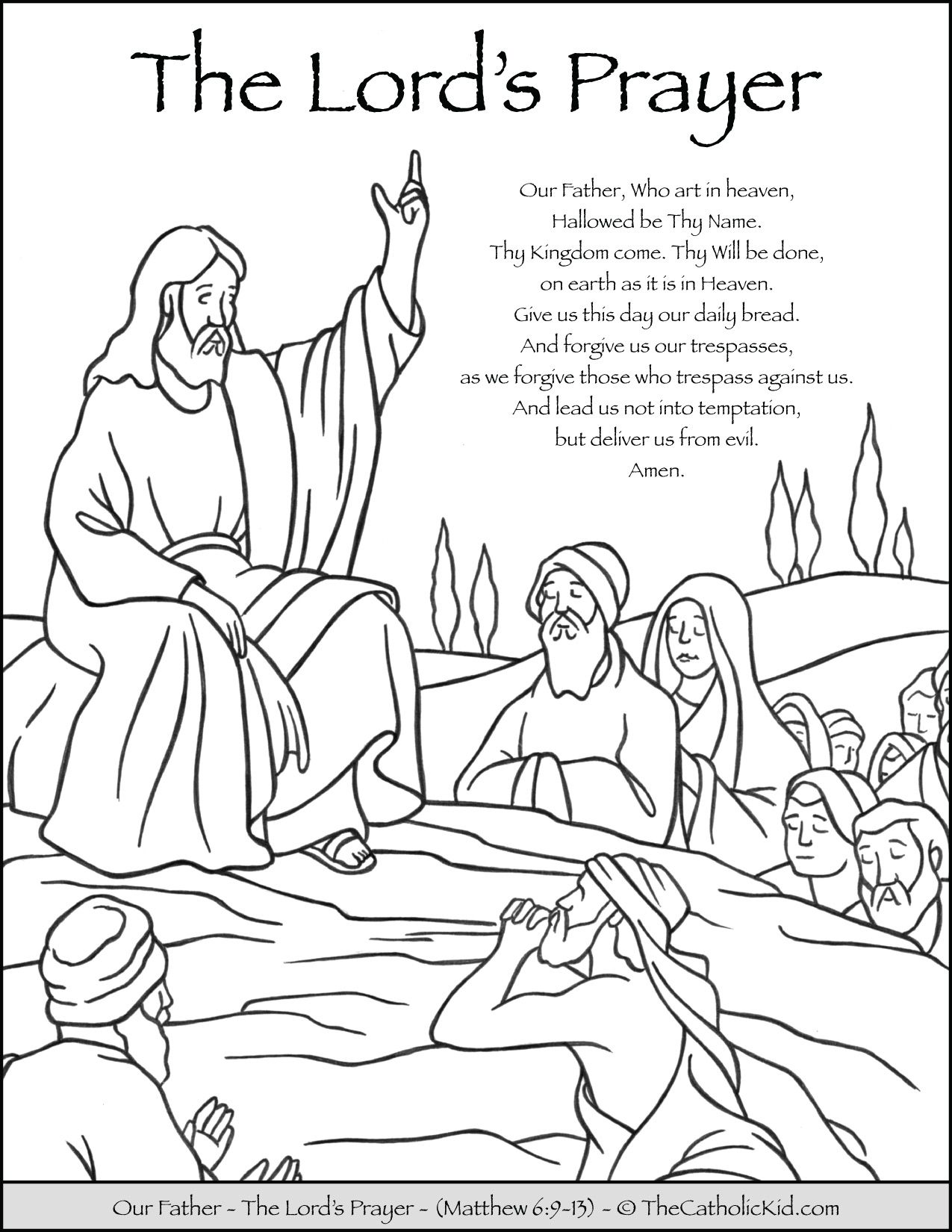 The Lord S Prayer Our Father Prayer Coloring Page Thecatholickid Com Our Father Prayer Prayer For Fathers The Lords Prayer