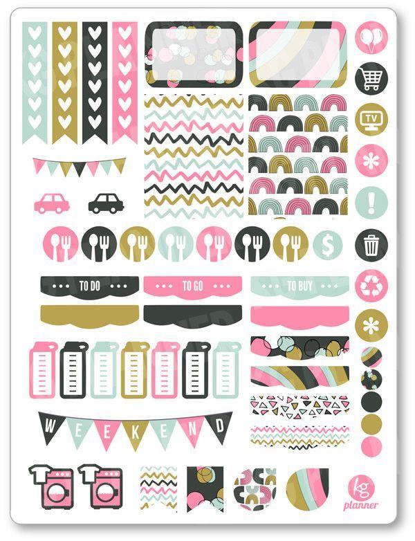 Sweet Rainbow Weekly Spread Planner Stickers