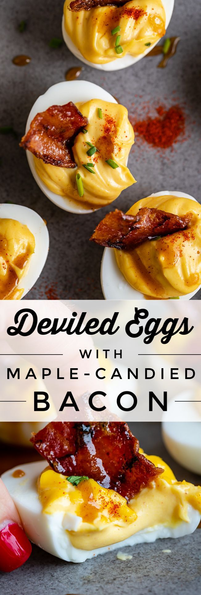 Dijon Deviled Eggs with Maple Candied Bacon from The Food Charlatan. There are deviled eggs...and t