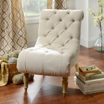 Superieur Ivory Button Tufted Chaise Accent Chair