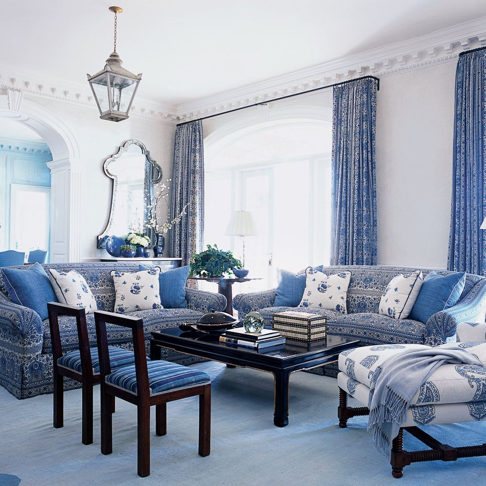 Our Favorite Blue And White Rooms Blue And White Living Room