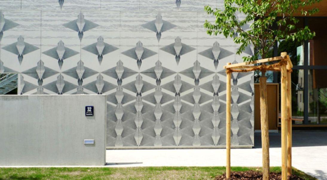 ¨The flight¨ by Motoko Dobashi. Kindergarten in Munich. Silkscreen printed EQUITONE facade panels. equitone.com