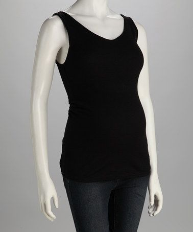 Take a look at this Black Shine Maternity V-Neck Tank by Michael Stars on #zulily today!