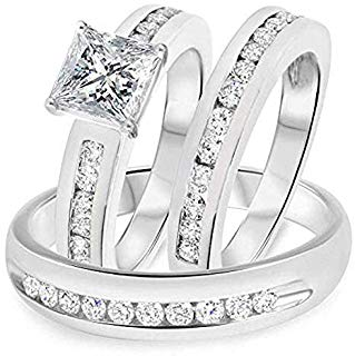 Amazon Com His And Hers Matching Gold Wedding Band Sets Rings