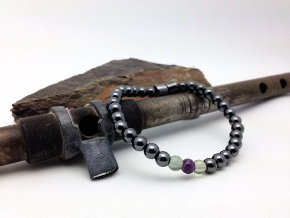 Fluorite and Magnetic Bracelet therapy Unisex by PineBranchDesigns #buyfromwomen #fluorite