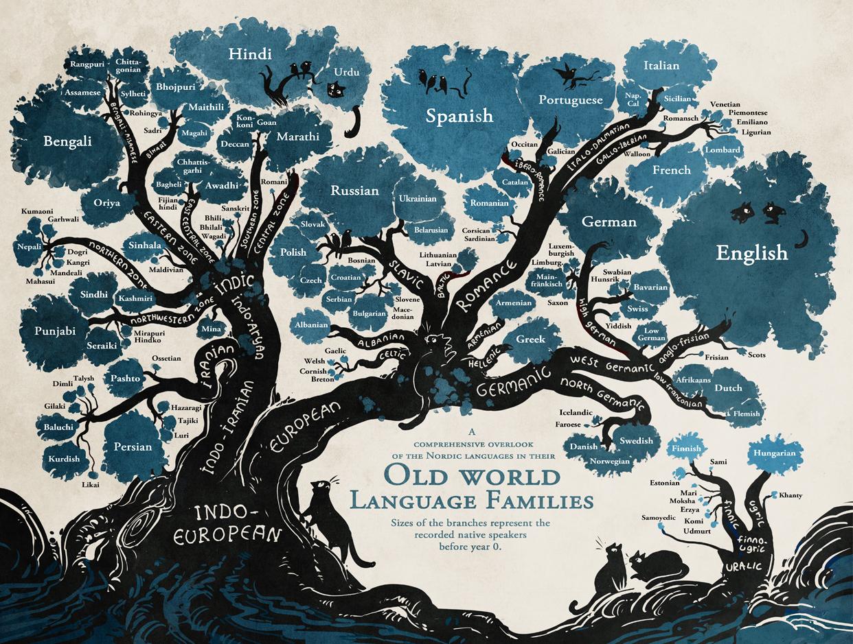 言語の樹形図 インフォグラフィック 企画 書 デザイン 系統樹