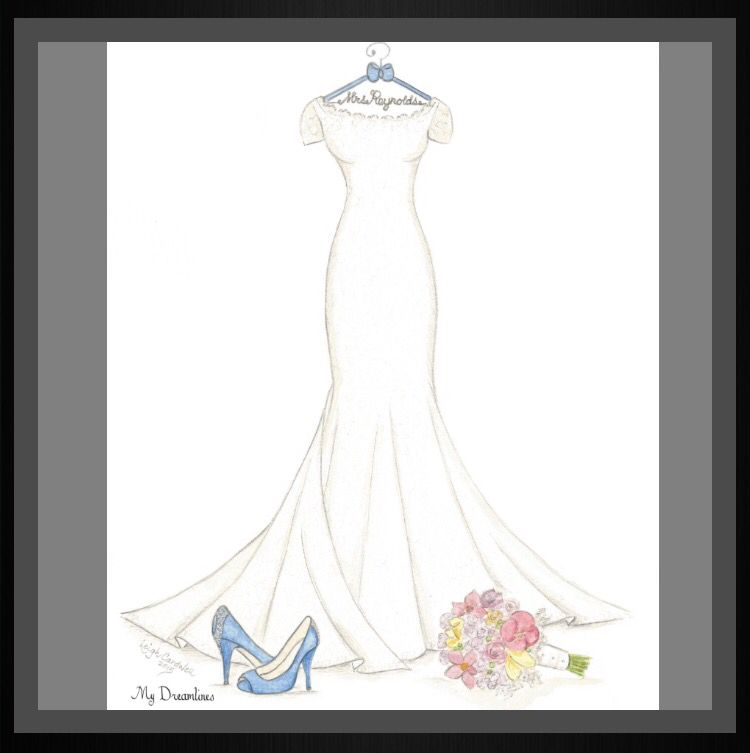 Perfect Gift The Wifes Wedding Dress Sketch With Suit Bouquet And Frame
