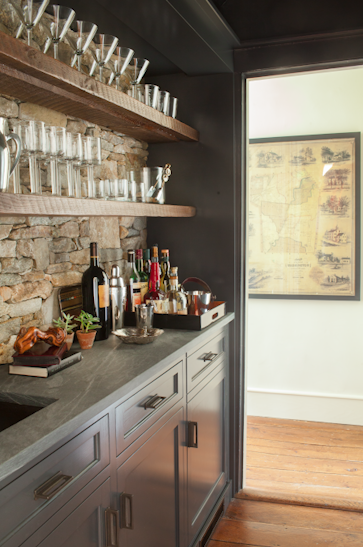 Stunning Butler S Pantry Wet Bar With Rustic Floating Shelves Over A Stacked Stone Backsplash Above Slate Counters And Inset Gray Cabinetry Accented With